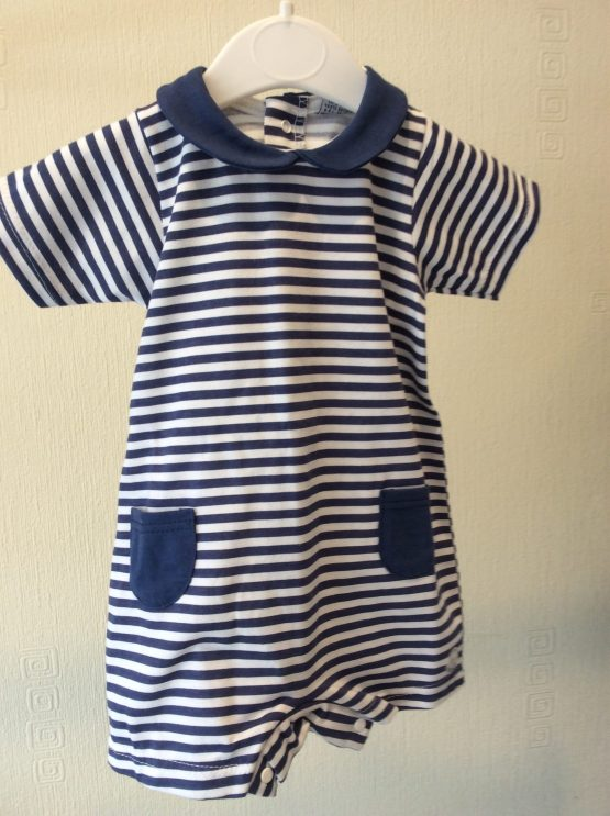 Babidu Navy and White Stripwd Shortie Romper