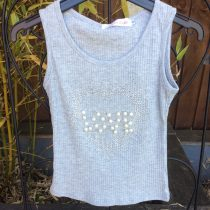 Girls Glitter & Pearls Grey Summer Vest Top