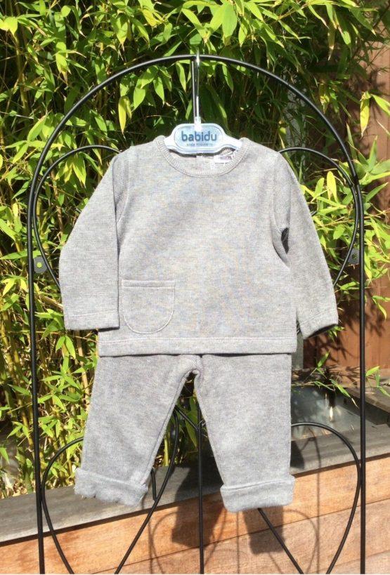 Babidu Baby 2 Piece Grey Trackie Set –  Round Neck