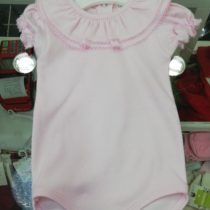 Beautiful Frill Collar Baby Vest / Body – All Pink Short Sleeve