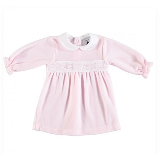 Babidu Pink Winter Dress with Peter Pan Collar