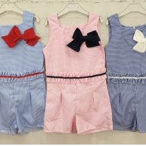Girls Blue & White Striped Playsuit