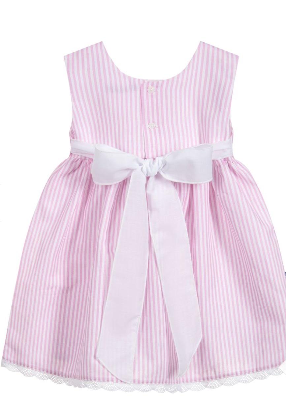 Babidu Pink Candy Stripe Summer Dress with Large Sash Bow