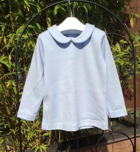 Babidu Blue Long Sleeve Top with Peter Pan Collar