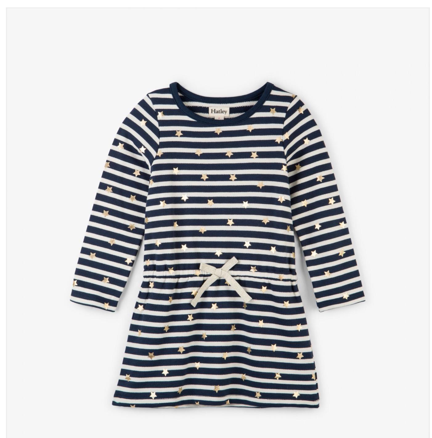 Hatley Starry Striped Long Sleeve Dress