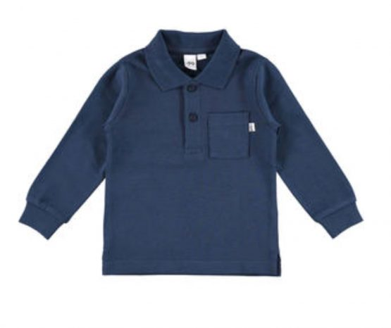 Navy Long Sleeve Tee with Collar from Italian Brand Ido