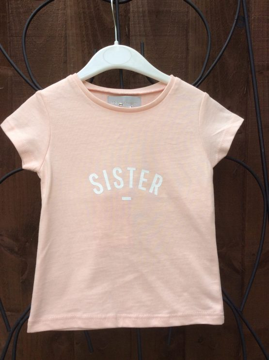 Bob & Blossom Peachy Pink SISTER Tee Shirt for Girls