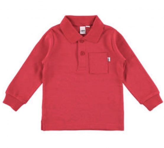 Ido boys Red Long Sleeve Collared Tee