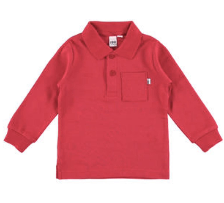 Ido Boys Red Long Sleeve Collared Tee