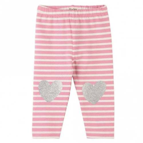 Hatley Baby Girl Pink & White Striped Leggings with Silver Glitter Heart on Front