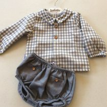 Babidu Baby Boys Blueish Grey Cotton Check Shirt and Shorts Set