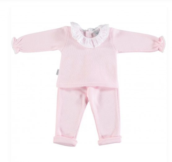 Babidu AW19 Frill Collar Girls Pink Set