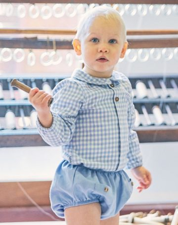 Babidu AW19 Baby Blue Check Shirt & Shorts Set