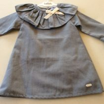 Babidu Frill Collar 3/4 Long Sleeve Blueish Grey Dress